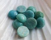 2 x Natural Blue Russian Amazonite Cabochons 10mm Semi Precious Stones, Craft Supplies, Beads, UK Seller (GB1140)