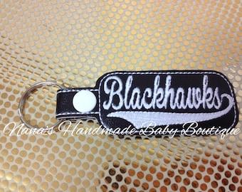Blackhawks - In The Hoop - Snap/Rivet Key Fob - DIGITAL EMBROIDERY DESIGN