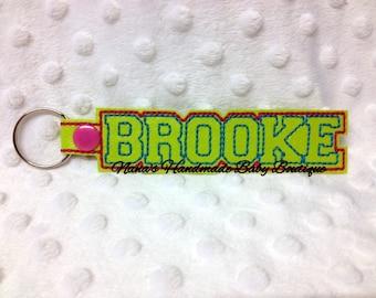 BROOKE Custom Name - In The Hoop - Snap/Rivet Key Fob - DIGITAL Embroidery DESIGN