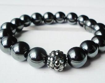 Hematite Bead Bracelet With Hematite Pave Bead//Hematite Bracelet