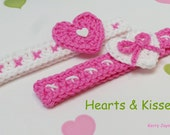 CROCHET PATTERN Sweetheart headband pattern Crochet headband pattern Baby headband pattern, 7 sizes, Valentines day headband pattern pdf, UK
