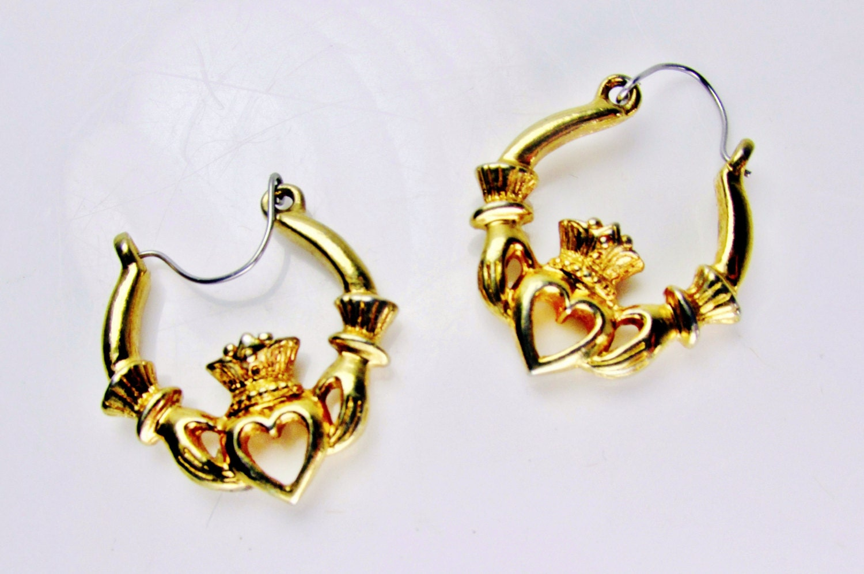 vintage earrings claddagh gold tone earrings pierced