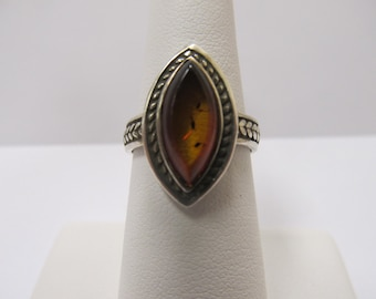 925 Silver Natural Amber Ring Item W-#349