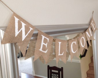 Simply Handcrafted - Hand Painted Burlap Welcome Banner