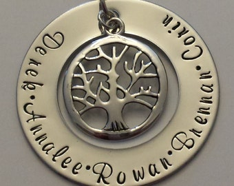 Tree of life Mom necklace, hand-stamped necklace, gift for mom, personalized necklace