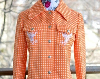 SPRING SALE! -- Vintage 60s 70s Orange Gingham Bird Print Jacket - Modern Size Small