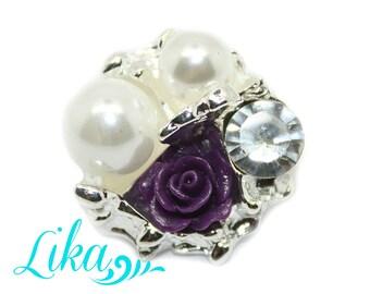 Purple Vintage Rose Rhinestone Button - Vintage Rose Rhinestone - Flatback Rhinestone Button - Set of 2 - Metal Rhinestone -  Wholesale
