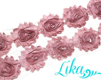 Dusty Pink Shabby Rose Trim - Shabby Flower trim - Shabby Flower Rose Trim - Chiffon Flower - Dusty Pink - Shabby Chic - Rose Trim