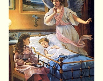 Angel Guardian at Bedside 11x14 canvas print  Angel watches over ill child in crib