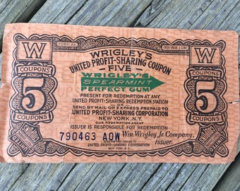 Vintage Wrigley's United Profit-Sharing Coupon for Five Coupon Credits