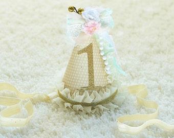 Mint and Pink Birthday Hat, Custom Birthday Hat, Girl's Birthday Hat, First Birthday Crown