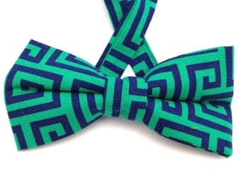 Royal blue bow tie, royal blue bow ties, blue and green tie, Father's Day gift, bow tie, royal blue necktie, geometrical bow tie.