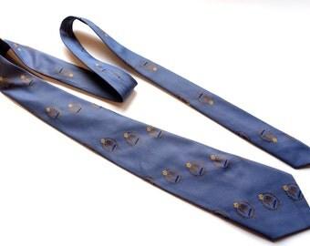 """Vintage 60s Narrow Tie,Crown & Eagle SUPERBA Tie,3"""" Width,Blue Polyester Tie,60s Tie,Eagle Tie,Vintage Menswear,Mens Accessory,Slim Tie"""