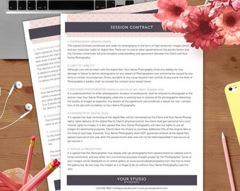 Session Contract Form - MsWord and Photoshop Template for Photographers - INSTANT DOWNLOAD - SC001