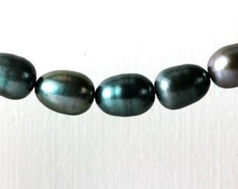 Olive Green Pearls Freshwater Oval Pearls Rice Potato Pearls Quarter Strand 7 3/4 inches; 19 Pearls 8mm x 10mm Dark Olive Green KJ
