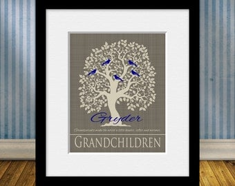 Grandparents Make the World, Customized Grandchildren Tree, Grandparent's Gift, FAMILY TREE PRINT, Personalized Grandparent Tree Print