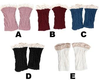 Women's Short Cable Knit Lace Leg Warmers, Boot Socks & Leg Sweaters