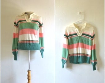 vintage pastel striped sweater // 1970s green white and pink collared sweater // medium
