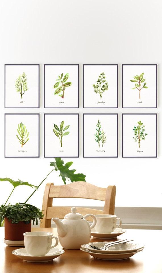 Kitchen art herb print set of 8 8x10 botanical print by for 8x10 kitchen designs