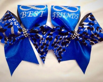 Best friends cheer bow pair.  Free personalization.