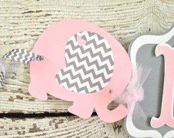 Elephant Banner In Pink And Gray, Pink And Gray Baby Shower Banner, Pink And