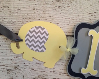 Elephant Baby Shower Banner in Navy, Yellow and White, Elephant Theme Baby Shower Decoration