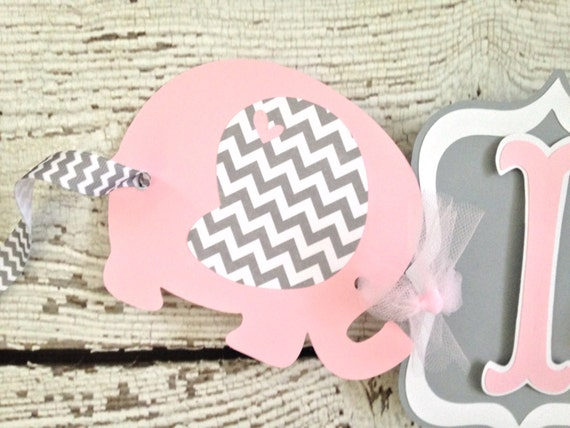 baby shower banner elephant theme pink and gray baby shower banner