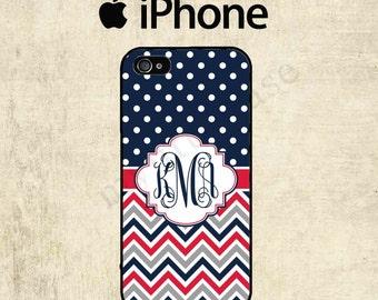 iPhone 6 Case - iPhone 5C Case - Polka Dot Chevron iPhone 5 Case - Monogram iPhone 5S Case - Personalized iPhone 5 Case - iPhone 6 Plus