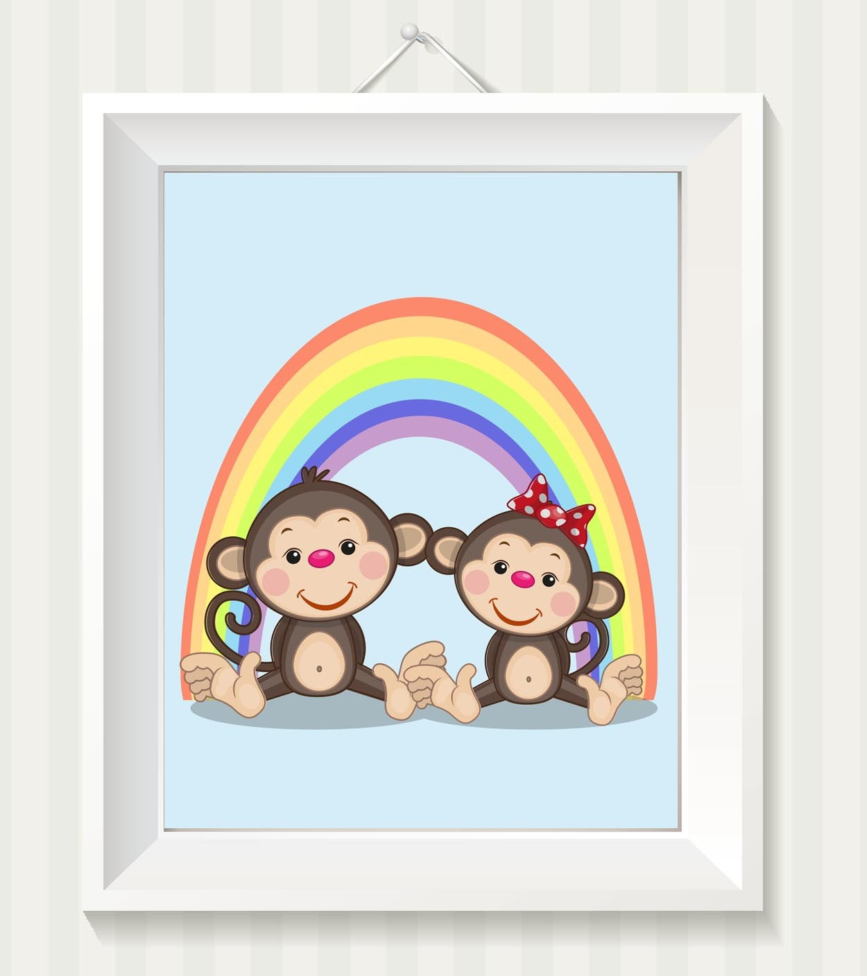 Monkey Nursery Art Monkey Nursery Print Rainbow Baby Art Baby Animal Blue Brown Beige Green Boy Girl