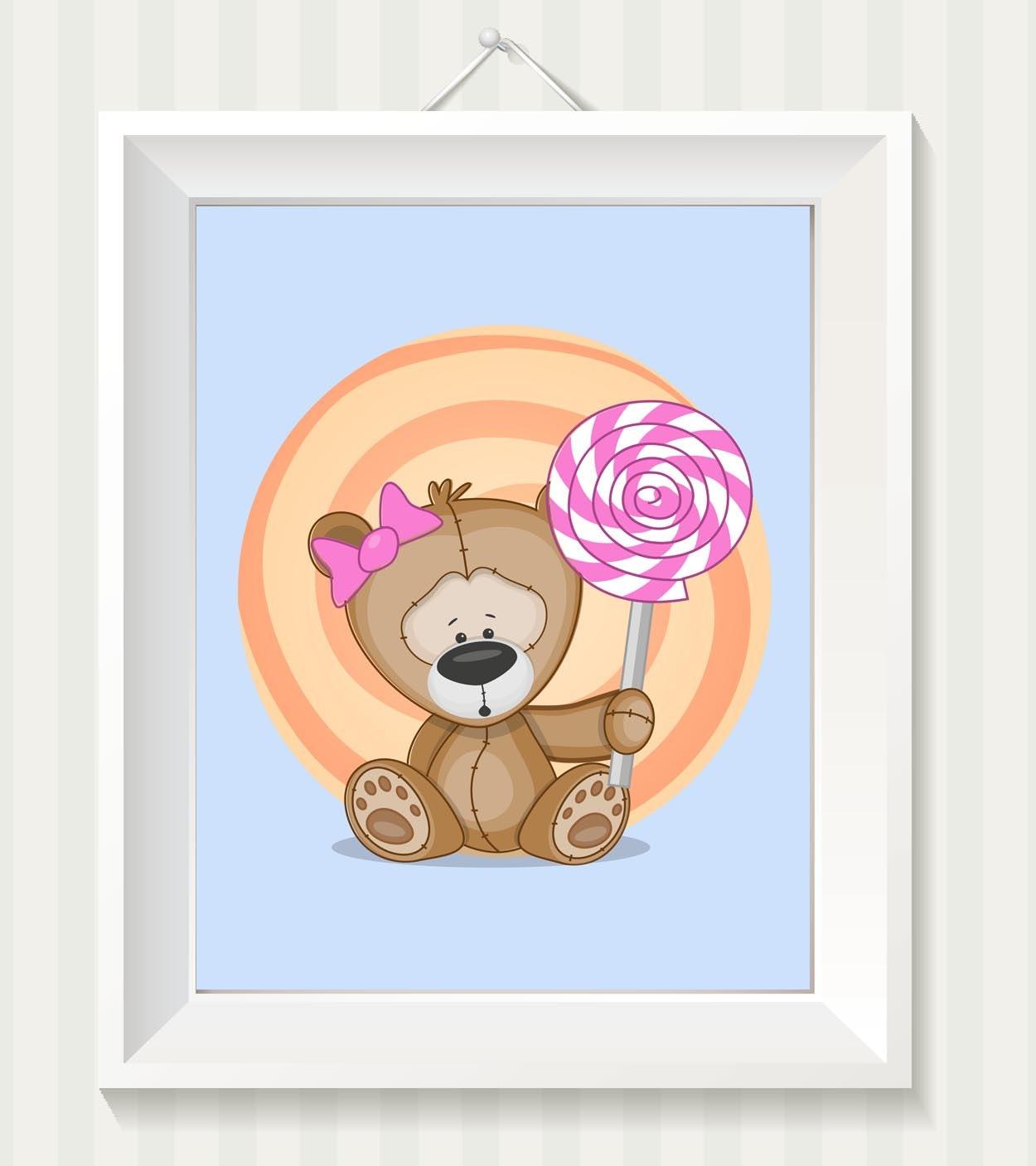 Girl Teddy Bear Nursery Art Nursery Print Teddy Bear Lolly Pop Baby Baby Animal Brown Blue Pink Prin