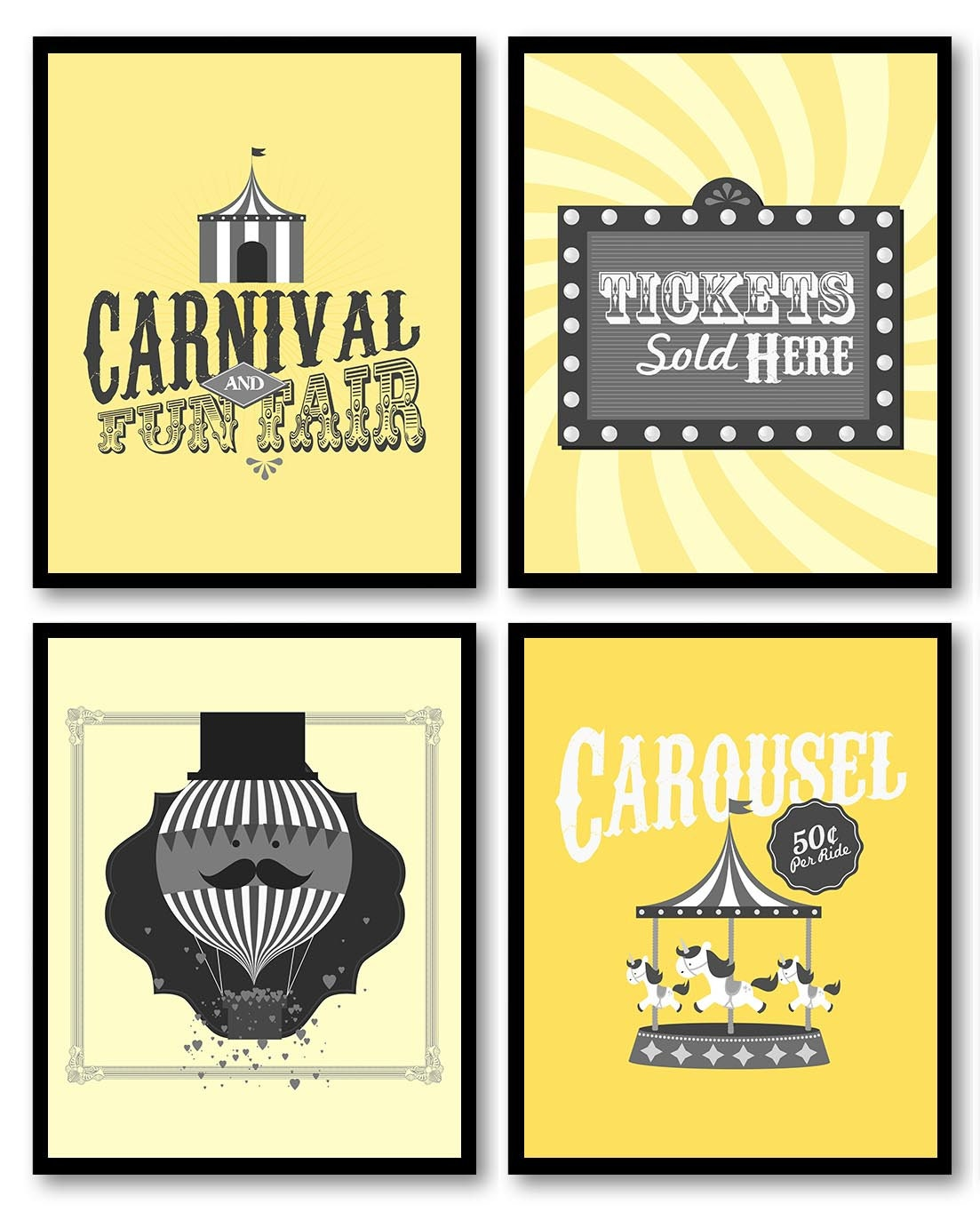 Yellow Grey Carnival Nursery Art Fair Nursery Print Child Baby Set of 4 Circus Tickets Hot Air Ballo
