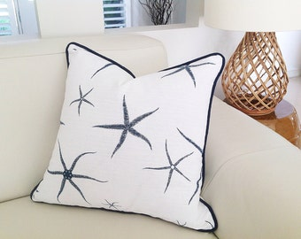 Seastar Cushions, Contemporary Pillows, Classic Beach House Cushions, Natural, Navy & White Scatter Cushion Cover Scatter Pillow