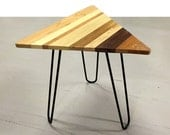 Reclaimed Wood Triangular Modern End Table or Coffee Table