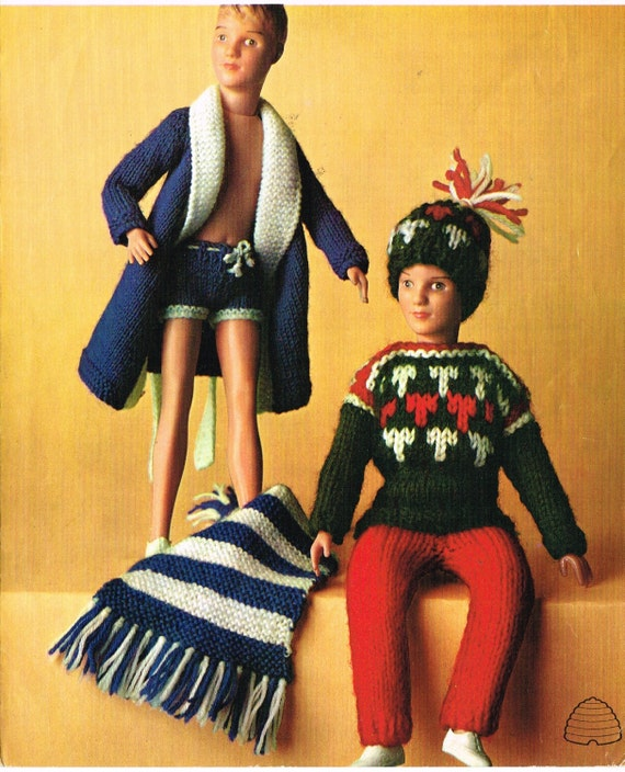 How To Knit Loops On A Pattern : 12-13 Dolls clothes knitting pattern. Ken Action man.