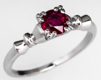 Round Natural Ruby .60 Carat Vintage 1940's Engagement Ring in Platinum WM9483