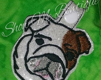 English Bulldog Dog Snap Key Fob design