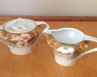 Vintage Handpainted Brown Floral Cream and Sugar from RS Germany, Bone China