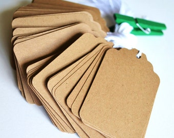 kraft bulk scalloped hang tags with string, bulk price tags, bulk favor tags, bulk gift tags- 50 tags