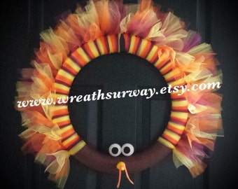 READY TO SHIP! Thom Turkey Tulle Wreath Holiday Thanksgiving