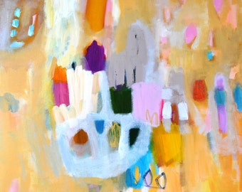 Square Original Canvas Painting Yellow Gold Blue Pink