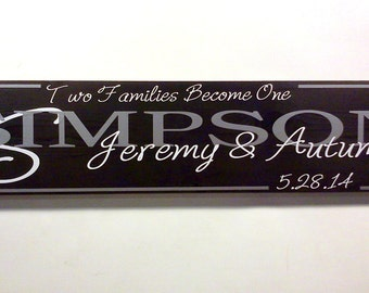 Blended Family Gift Two Families Become One Established Date Wooden Sign - Your Choice Of Colors