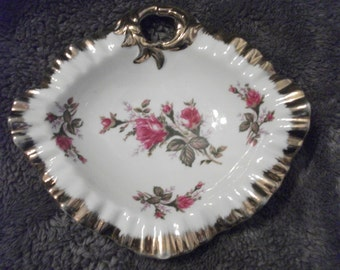 Beautiful, Antique, hand-painted porcelain dish