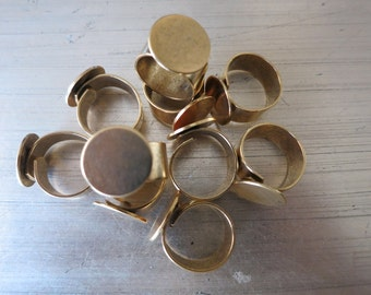 Ring Blank//Gold Ring // Ring Finding// 1 Piece Antique Gold 16mm pad