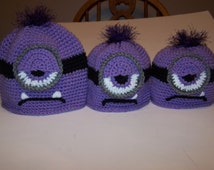 Hand Crocheted Evil MINION Hat Despicable Me (5 Children's Sizes)