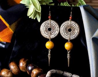 Exotic Carved Bone Earrings!!!