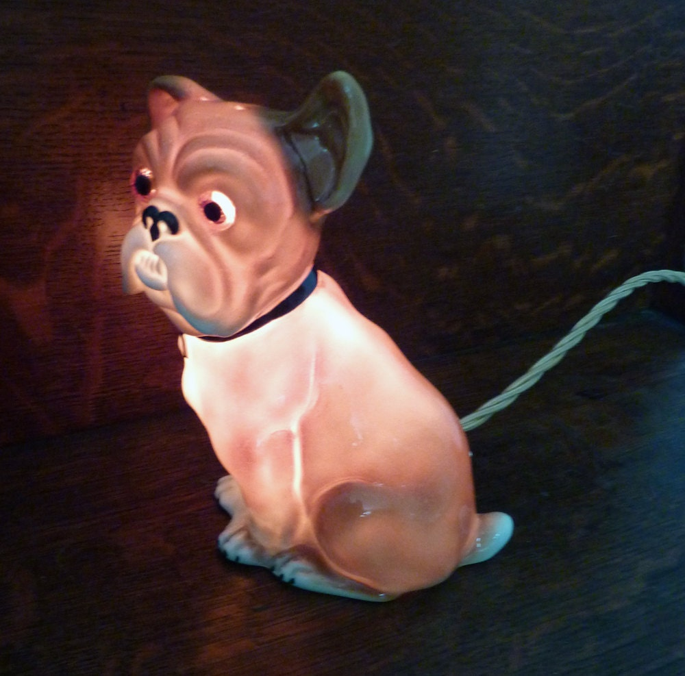 1940 S German Bulldog Night Lamp With Perfume Diffuser