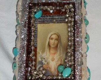 Personal Shrine with Mother Mary, Cruxfix, Mosiac, China Shards, Light Blue Beads, with Heart