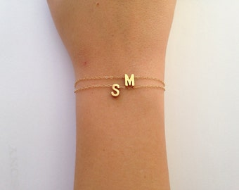 Tiny letter initial, gold filled bracelet.  Personalized A-Z