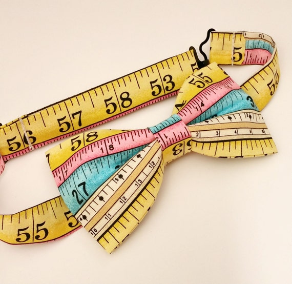 Tape Measure Bow Tie Pre-Tied Bow Tie Gifts by NoSleepBoutique