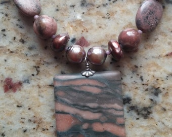 Smoky Jasper Pearl and Rose Quartz Necklace
